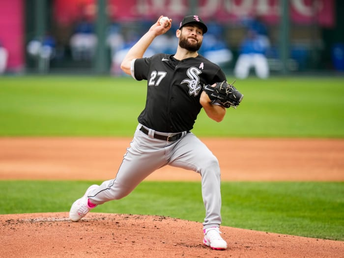 May 9, 2021; Kansas City, Missouri, USA; Chicago White Sox starting pitcher Lucas Giolito (27) pitches against the Kansas City Royals during the first inning at Kauffman Stadium.