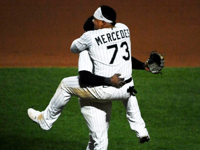 May 11, 2021; Chicago, Illinois, USA; Catcher Yermin Mercedes (73) and Chicago White Sox shortstop Tim Anderson (7),celebrate the team win against the Minnesota Twins at Guaranteed Rate Field.