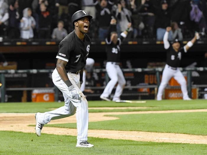Apr 26, 2019; Chicago, IL, USA; Chicago White Sox shortstop Tim Anderson (7) reacts after hitting the game winning home run during the ninth inning at Guaranteed Rate Field.