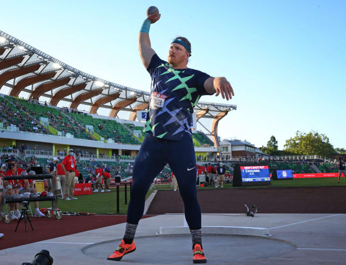 Ryan Crouser prepares for his final pitch during the men's shot put on the first day of the USA Olympic Trials.