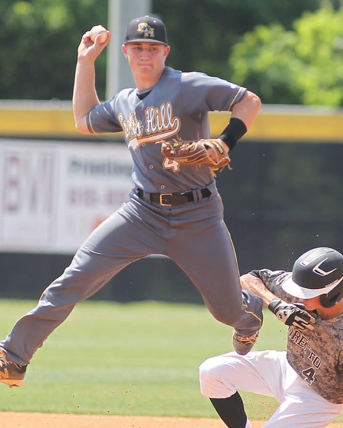 Evan Russell (4) makes a throw in the state baseball tournament. CREDIT: The Jackson Sun and submitted via the Russell Family
