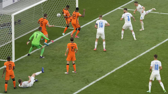 The Czech Republic scores against the Netherlands in Euro 2020