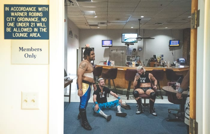 "Luke Stone (left) inVFW Post 6605's ""backstage"" area."