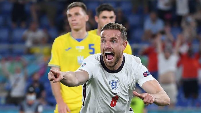 Jordan Henderson scores his first goal for England