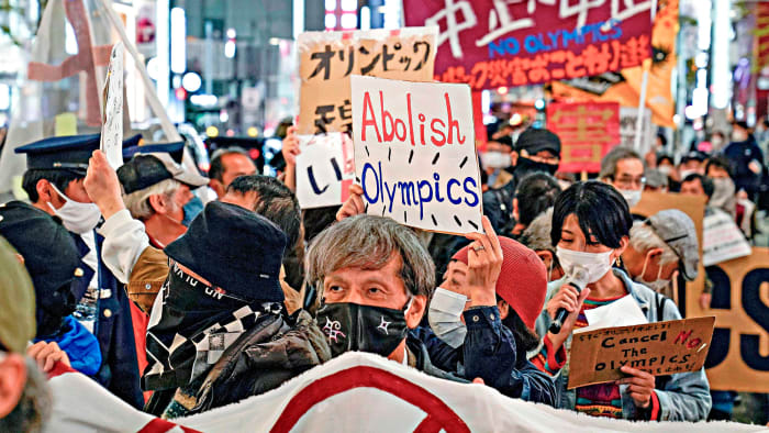 Anti-Olympic protesters took to the streets of Tokyo in March after the torch relay began.