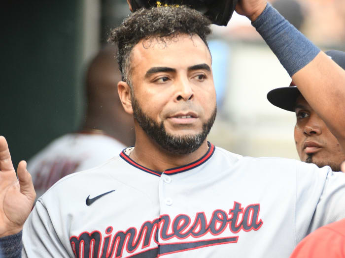 Minnesota Twins designated hitter Nelson Cruz (23) during the game against the Minnesota Twins at Comerica Park.
