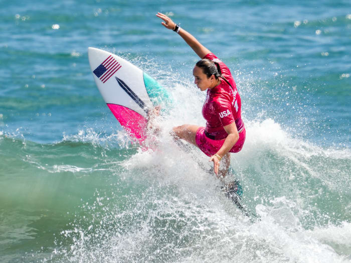 Carissa Moore (USA) surfs in women s round 1 competition during the Tokyo 2020 Olympic Summer Games at Tsurigasaki Surfing Beach.