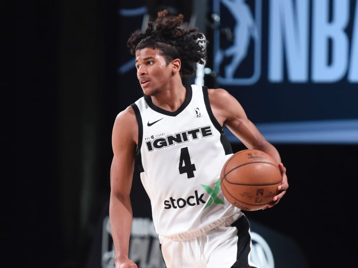 Jalen Green #4 of Team Ignite handles the ball during the game against the Raptors 905 during the NBA G League Playoffs on March 8, 2021