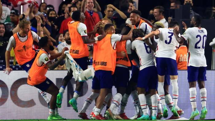 The USMNT celebrates winning the Gold Cup final against Mexico