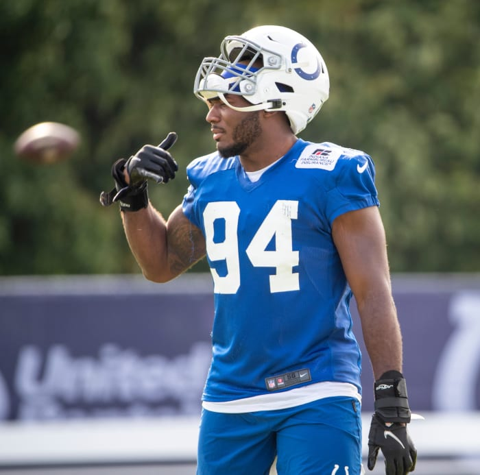 Indianapolis Colts defensive end Tyquan Lewis (94) at Grand Park in Westfield on Monday, August 10, 2021, on the third week of workouts of this summer's Colts training camp. Wentz Back At Colts Camp