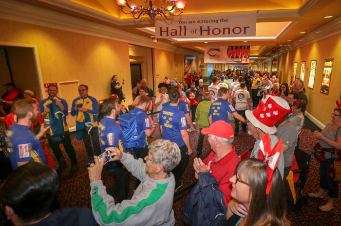 The athlete march, across the casino floor, is something to see