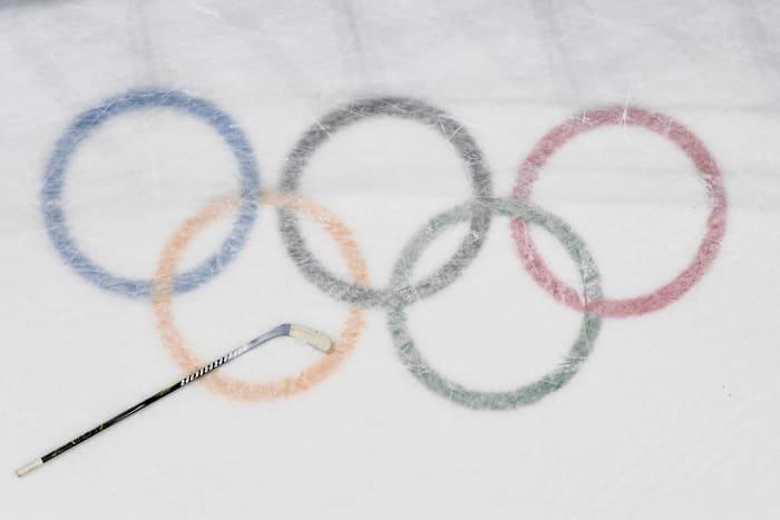 Olympic logo on ice