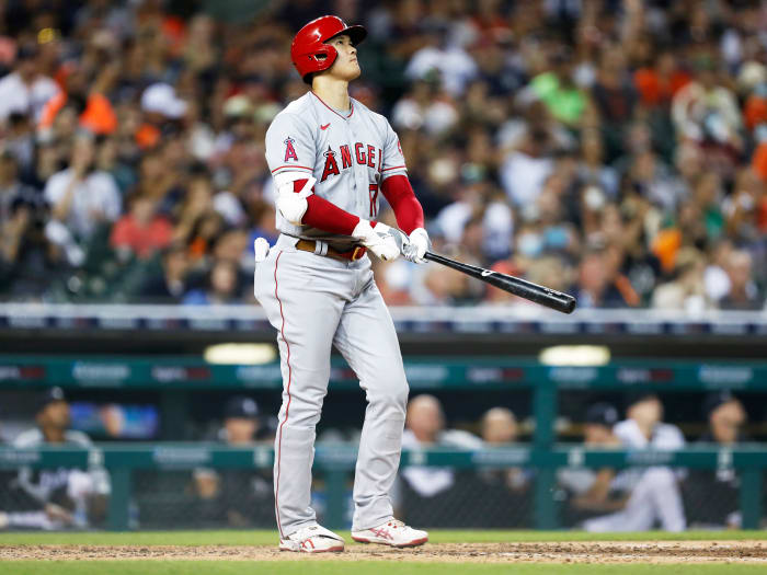 Aug 18, 2021; Detroit, Michigan, USA; Los Angeles Angels starting pitcher Shohei Ohtani (17) watches his home run during the eighth inning against the Detroit Tigers at Comerica Park.