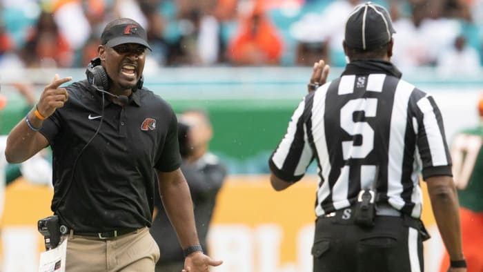 Florida A&M University Head Coach Willie Simmons argues with a referee during the Orange Blossom Classic between Florida A&M University and Jackson State University at Hard Rock Stadium in Miami Gardens, Fla. Sunday, Sept. 5, 2021.