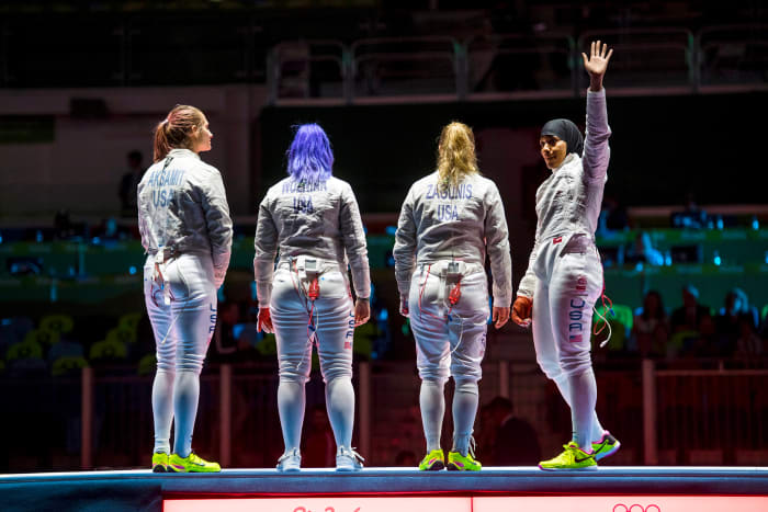 Muhammad (far right) in Rio, where she earned a 2016 bronze medal in team sabre.