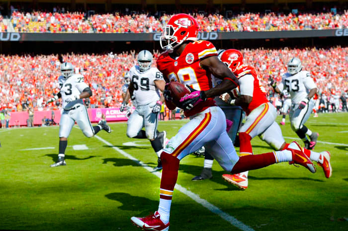 Husain Abdullah, with the Chiefs, making the Raiders pay in 2013.