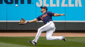 Minnesota Twins right fielder Alex Kirilloff (76) dives to catch a fly ball in the fifth inning against the Houston Astros at Target Field.