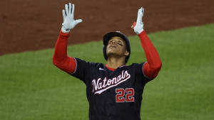 Nationals outfielder Juan Soto celebrates after hitting a home run against the Phillies on September 22, 2020.