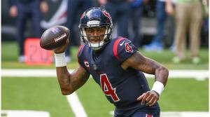 December 27, 2020;  Houston, Texas, United States;  Houston Texans quarterback Deshaun Watson (4) comes out of pocket against the Cincinnati Bengals during the third quarter at NRG Stadium.