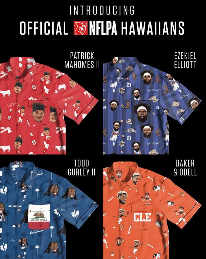 Shinesty et Tellum + Chop nous offrent un cadeau amusant. Ils viennent de présenter cette nouvelle gamme de chemises de style hawaïen sur lesquelles figurent des portraits de joueurs de la NFL. La collection comprend 20 joueurs, dont Tom Brady, Aaron Rodgers et Saquon Barkley.