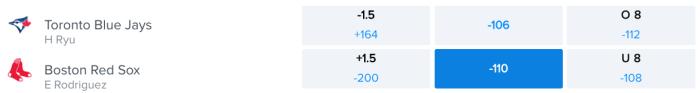 Betting Odds via FanDuel Sportsbook - Game Time 7:10 pm ET