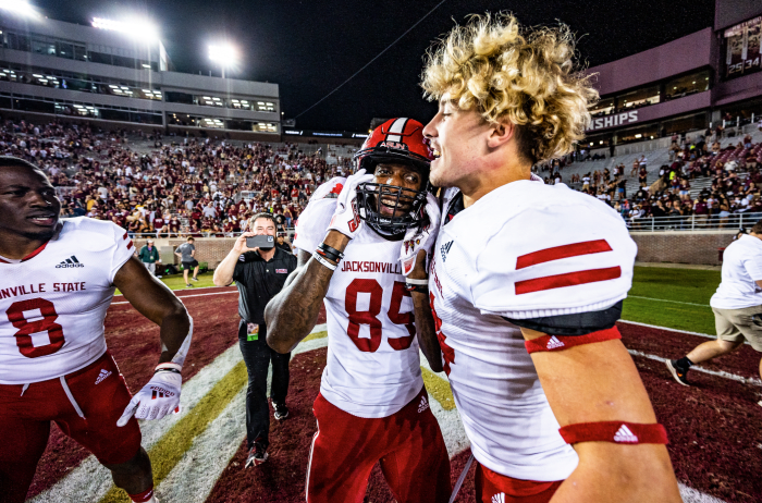Jacksonville State receiver Damond Philyaw-Johnson hugs a teammate after his game-winning catch.
