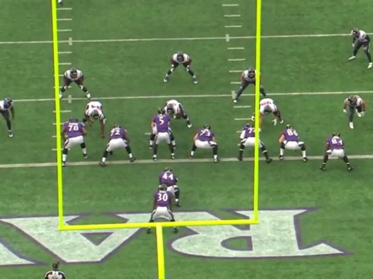 This is the Texans run defensive package against teams that try to lineup with one wide receiver. The Texans take Kareem Jackson out and replace him with a linebacker. The linebackers from left to right are Joe Mays, Darryl Sharpton and Brian Cushing.