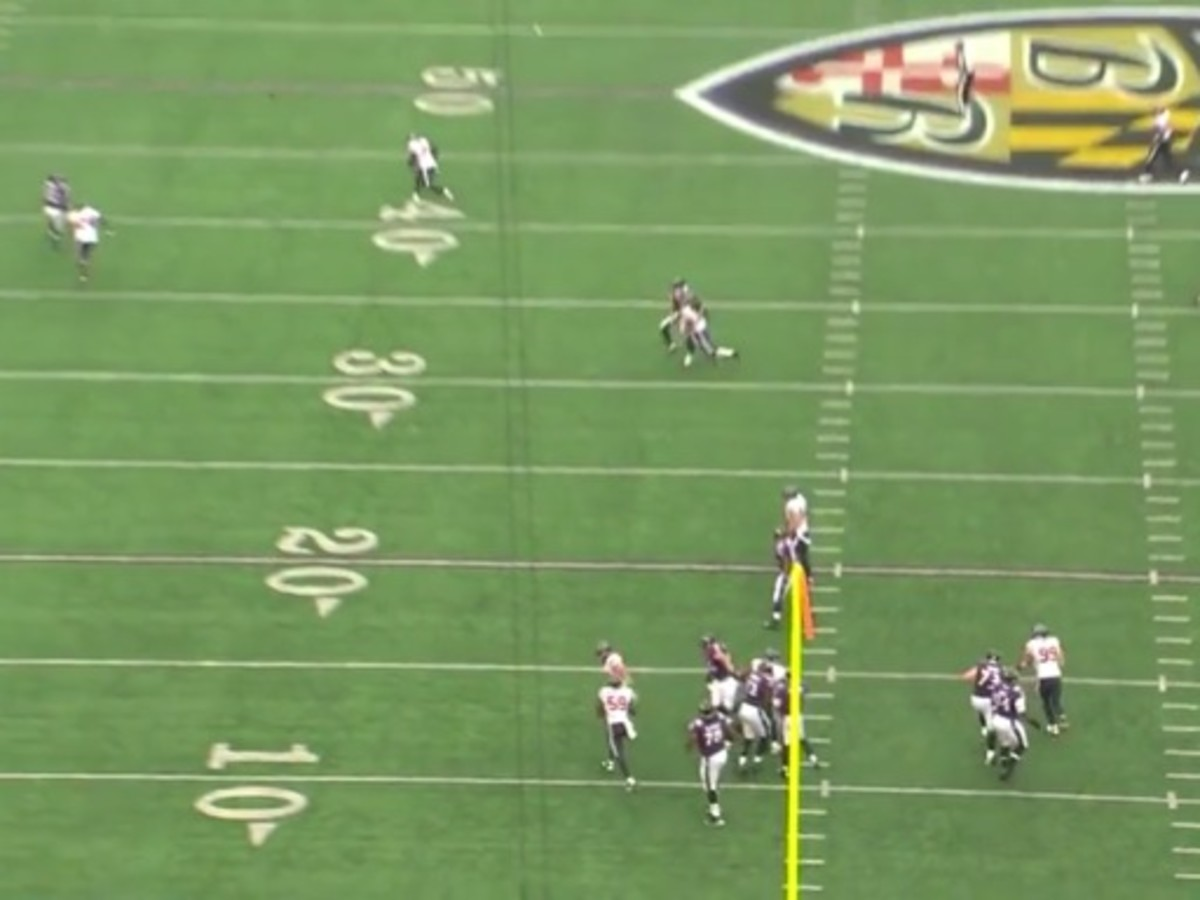 Endzone shot of how much field Manning has to cover. He has no chance to help with the free release Joseph gave Smith.