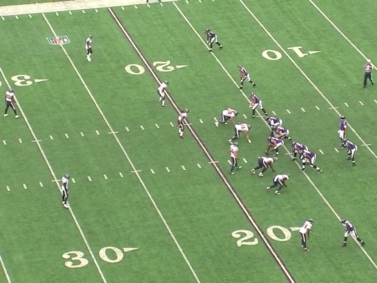 The Texans defense is in a cover two look with Kareem Jackson (on top) and Johnathan Joseph (bottom screen) both in man coverage. Brice McCain and D.J. Swearinger are also in man.