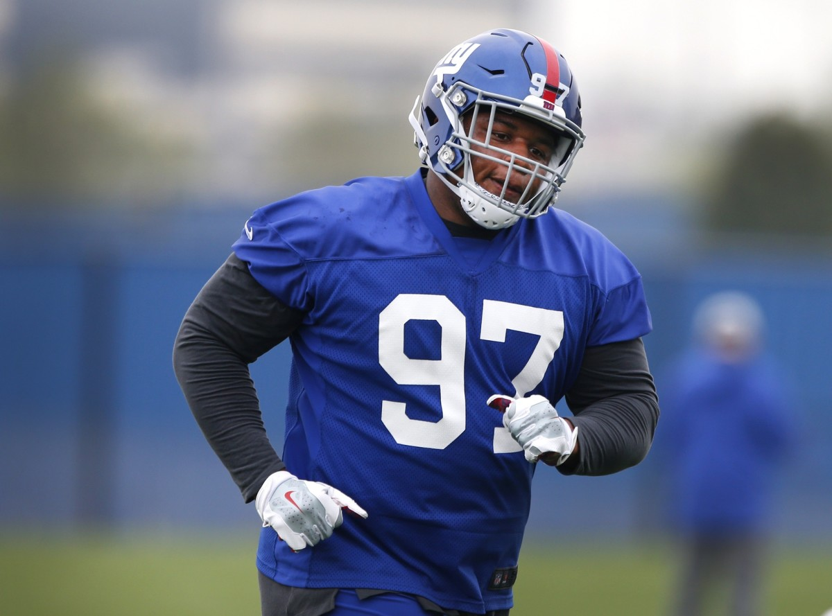 May 3, 2019; East Rutherford, NJ, USA; New York Giants defensive lineman Dexter Lawrence (97) during rookie minicamp at Quest Diagnostic Training Center.