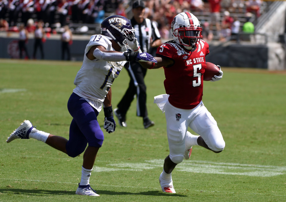 Tabari Hines gains yardage after a catch against Western Carolina
