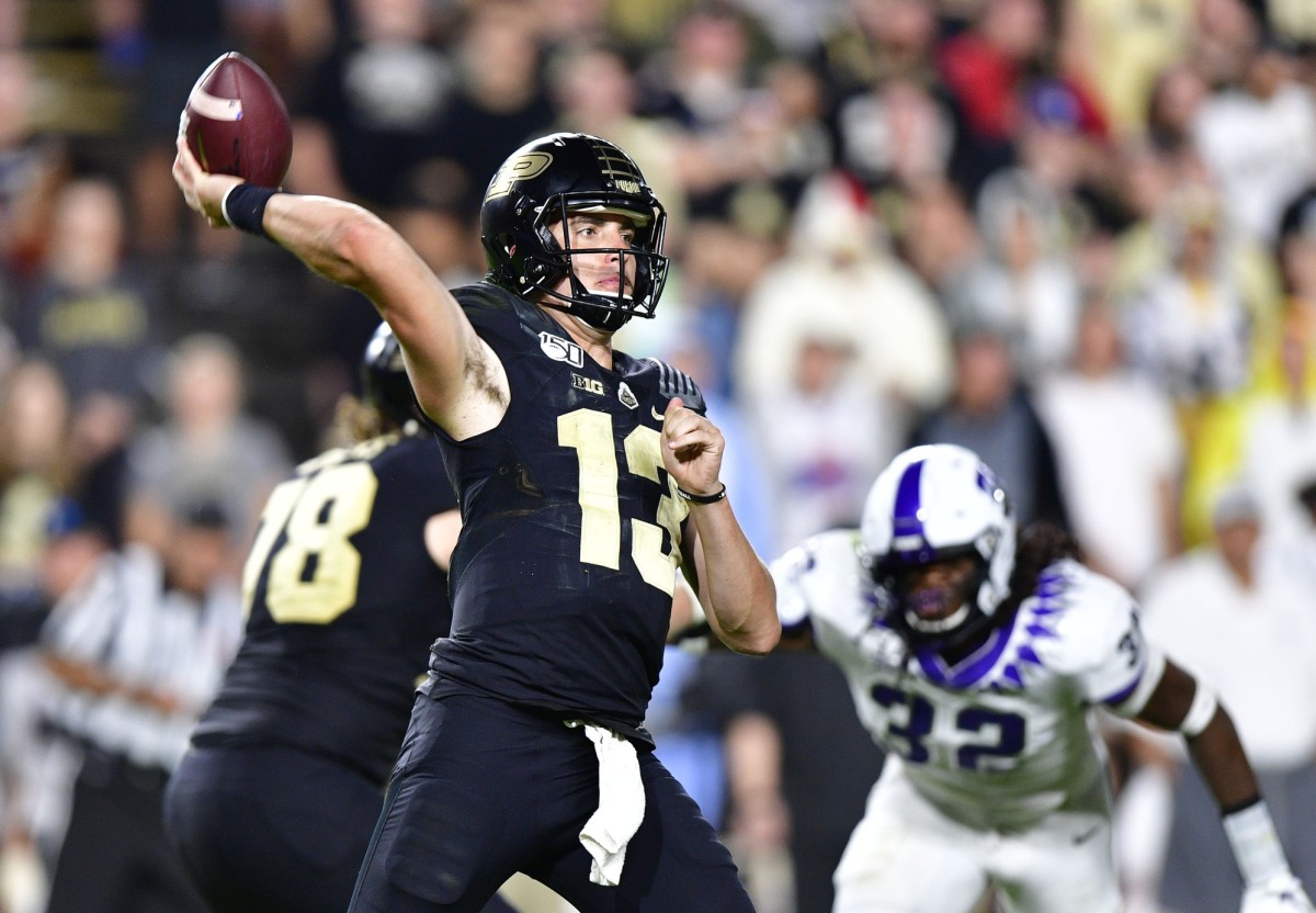 West Lafayette, IN, USA; Purdue Boilermakers quarterback Jack Plummer (13) passes the ball during the second half the game at Ross-Ade Stadium. The TCU Horned Frogs defeated the against the Purdue Boilermakers 34 to 13. Mandatory Credit: Marc Lebryk-USA TODAY Sports
