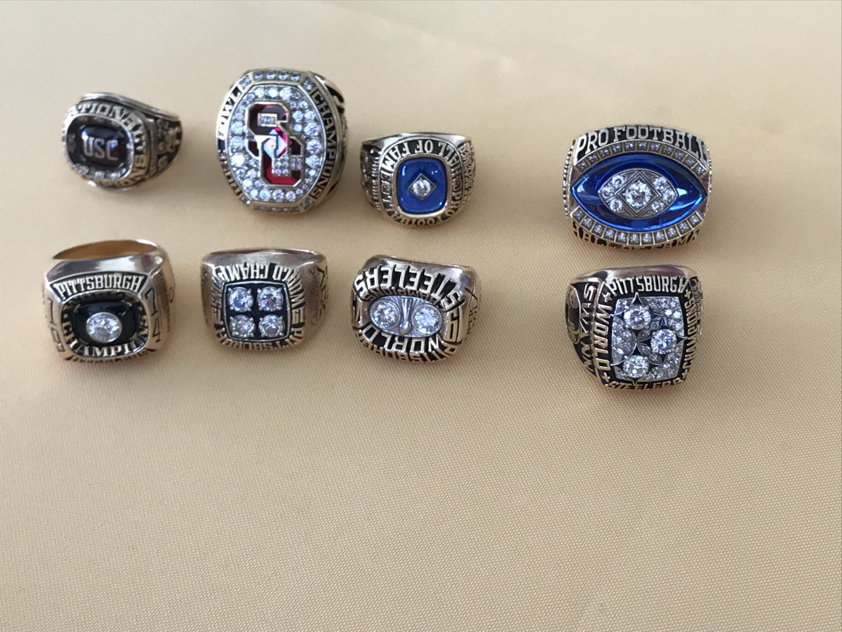 Lynn Swann's many college football and NFL championship and Hall of Fame rings.
