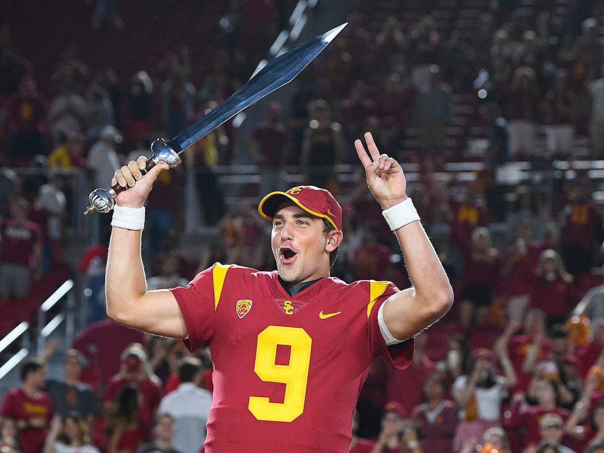 Backup QB Kedon Slovis celebrates USC's win over Stanford.