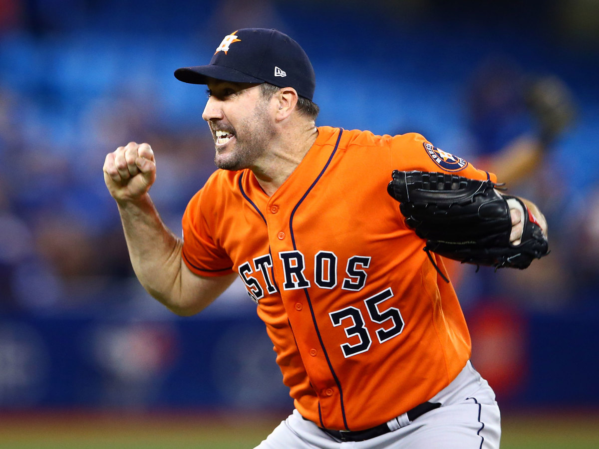 Justin Verlander reacts after completing the third no-hitter of his career on Sept. 1, 2019 against the Toronto Blue Jays at the Rogers Center in Toronto, Canada. (Vaughn Ridley/Getty Images)