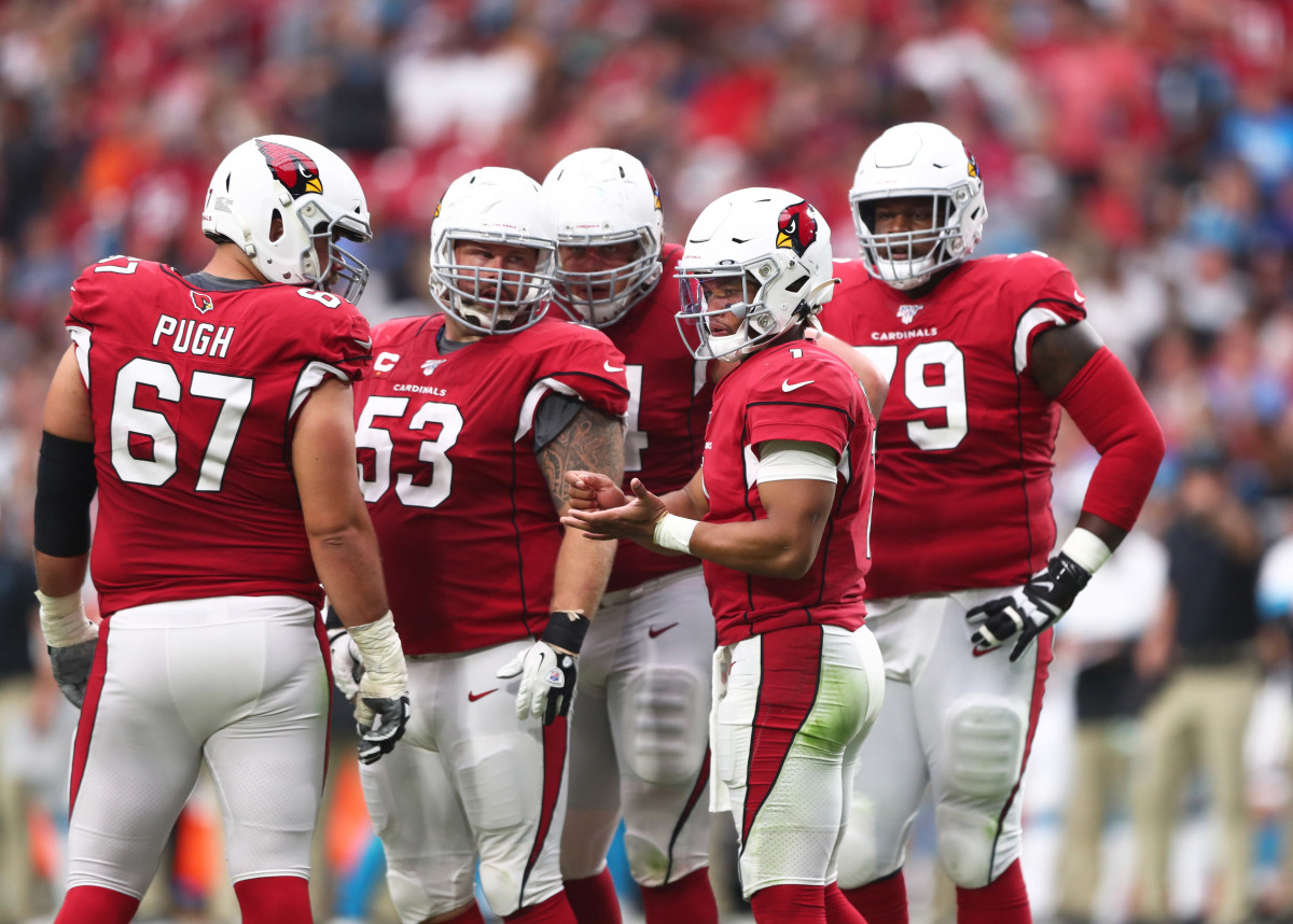 Kyler Murray and his offensive line, sans left tackle DJ Humphries.