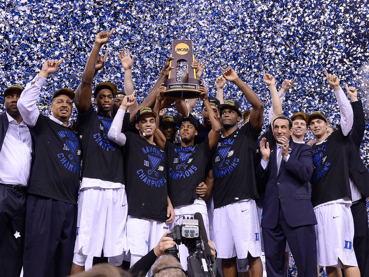 Duke basketball 2015 national championship title trophy