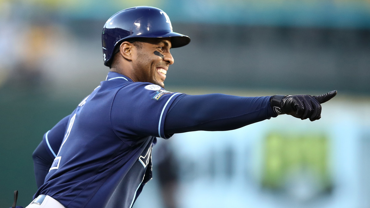 Rays' Yandy Diaz reacts to home run vs. A's