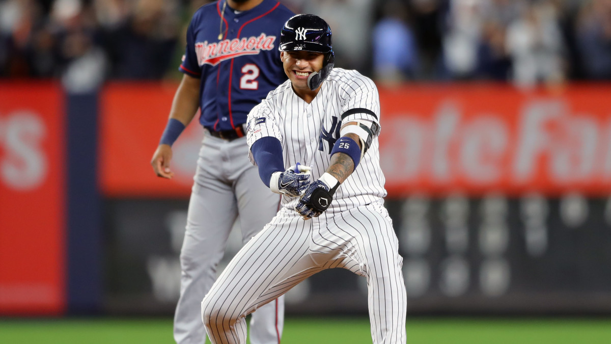 BRONX, NY - OCTOBER 04: Gleyber Torres #25 of the New York Yankees celebrates after hitting a two RBI double during the fifth inning of the ALDS Game 1 between the Minnesota Twins and the New York Yankees at Yankee Stadium on Friday, October 4, 2019 in the Bronx borough of New York City. (Photo by Alex Trautwig/MLB Photos via Getty Images)