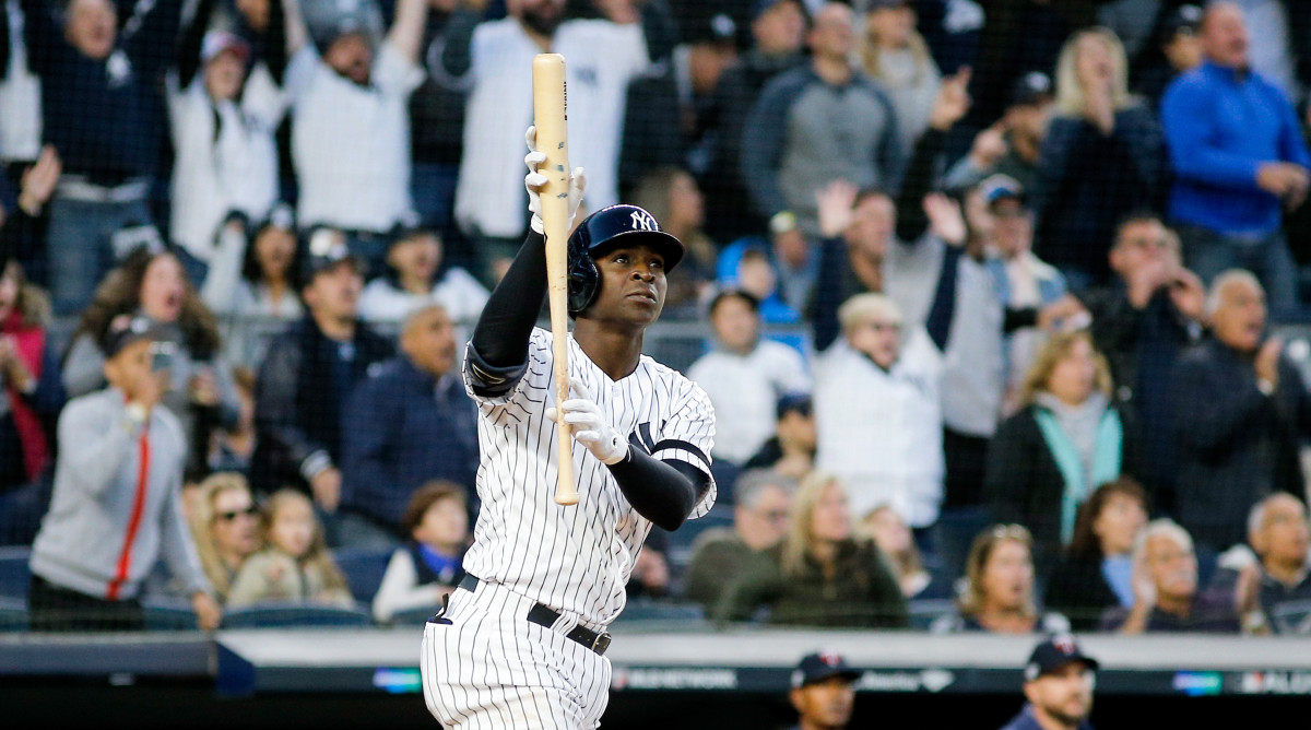Oct 5, 2019; Bronx, NY, USA; New York Yankees shortstop Didi Gregorius (18) reacts to hitting a grand slam against the Minnesota Twins in the third inning in game two of the 2019 ALDS playoff baseball series at Yankee Stadium. Mandatory Credit: Andy Marlin-USA TODAY Sports