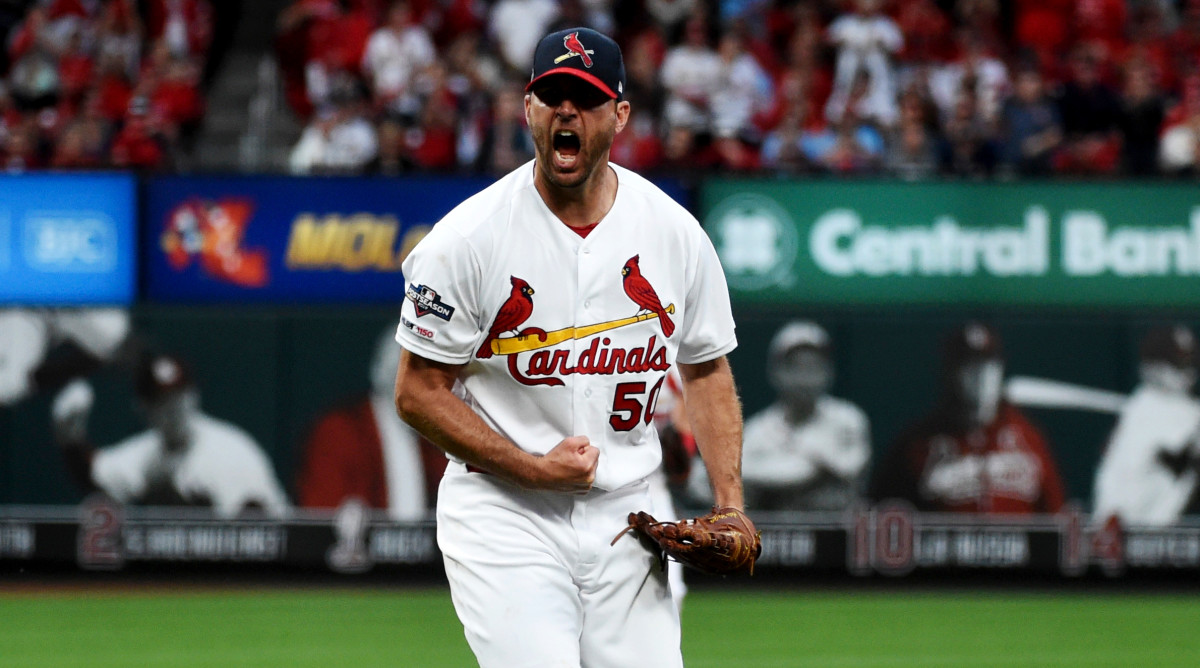 Oct 6, 2019; St. Louis, MO, USA; St. Louis Cardinals pitcher Adam Wainwright (50) reacts after the sixth inning in game three of the 2019 NLDS playoff baseball series against the Atlanta Braves at Busch Stadium. Mandatory Credit: Joe Puetz-USA TODAY Sports