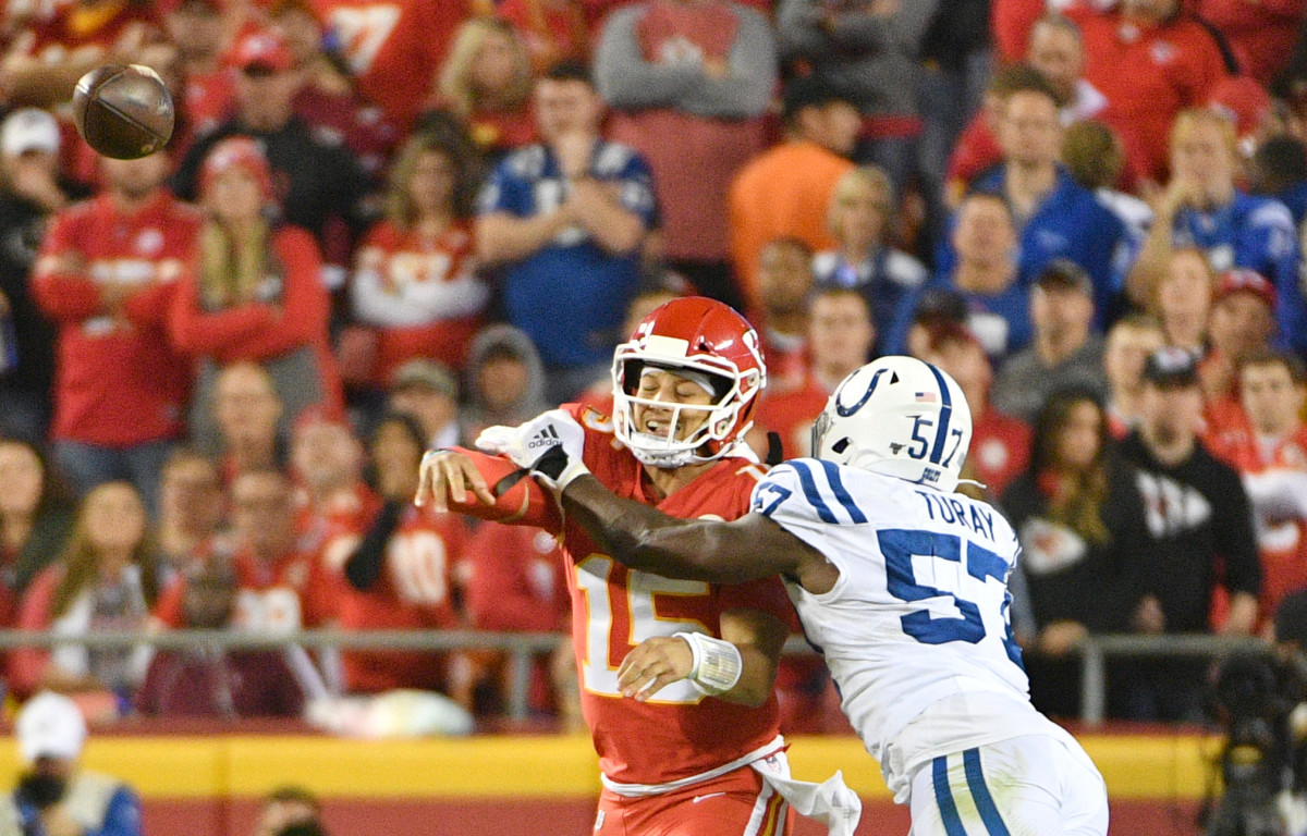 Colts defensive end Kemoko Turay pressures Chiefs quarterback Patrick Mahomes into an incomplete pass in Sunday night's 19-13 Colts win at Kansas City.