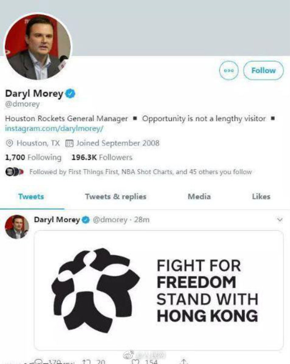 Daryl Morey's deleted tweet