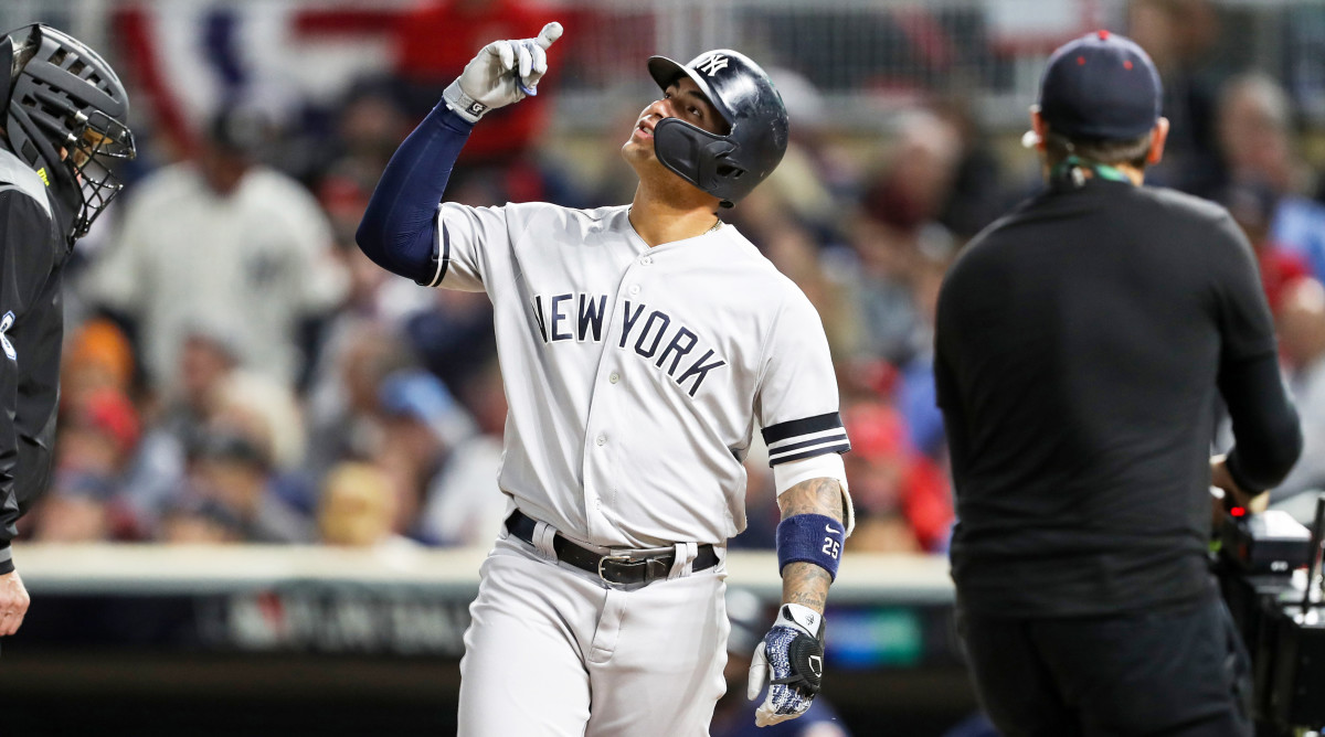 Oct 7, 2019; Minneapolis, MN, USA; New York Yankees second baseman Gleyber Torres (25) reacts after hitting a solo home run during the second inning of game three of the 2019 ALDS playoff baseball series against the Minnesota Twins at Target Field. Mandatory Credit: Jesse Johnson-USA TODAY Sports