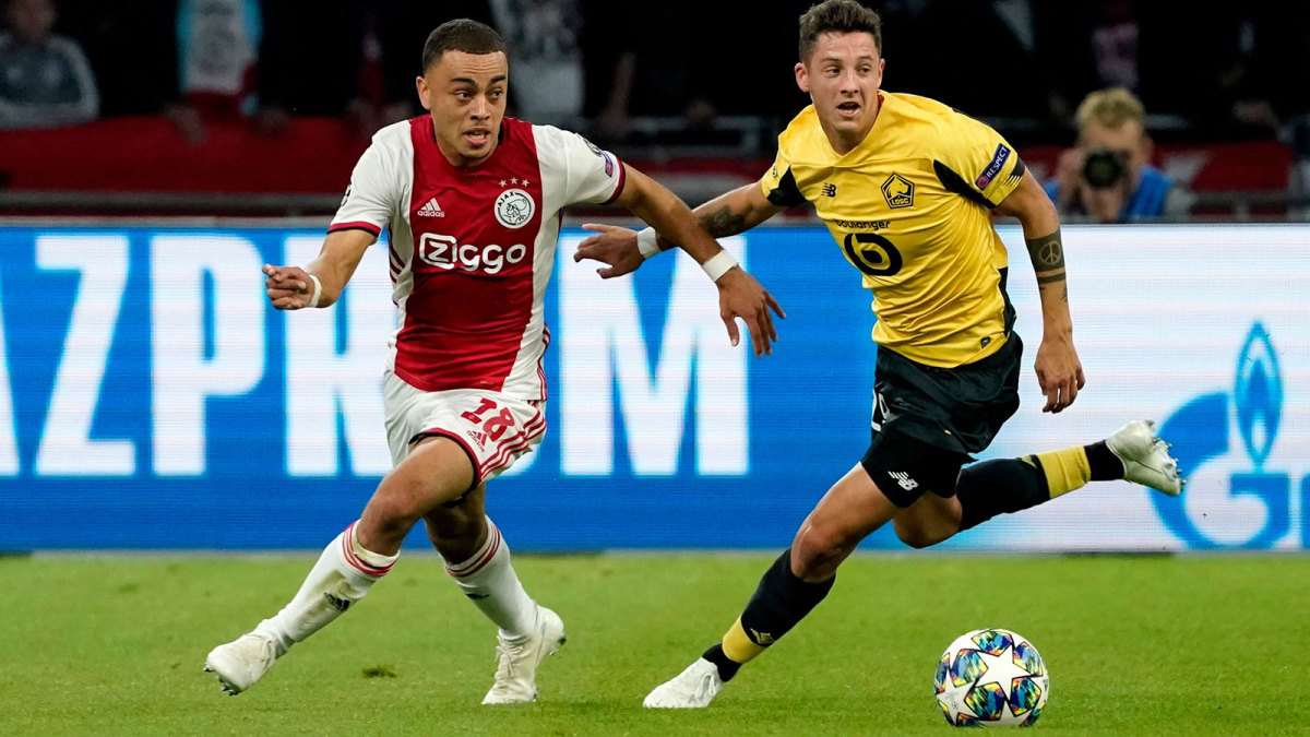 Sergiño Dest plays for Ajax in Champions League