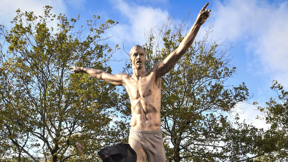 Statue of soccer star Zlatan Ibrahimovic in Malmo, Sweden