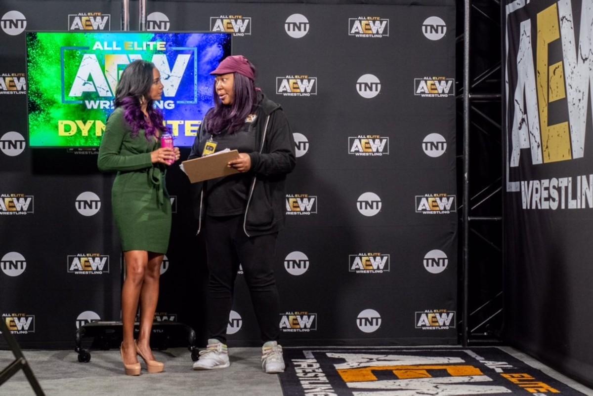 AEW's Brand Rhodes and Kia Stevens backstage at Dynamite
