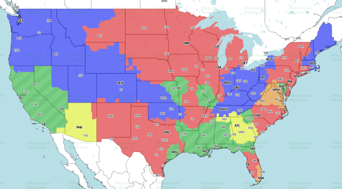 506Sports.com | Brown: WAS-MIA | Red: PHI-MIN | Blue: SEA-CLE | Yellow: ATL-AZ | Green: SF-LAR