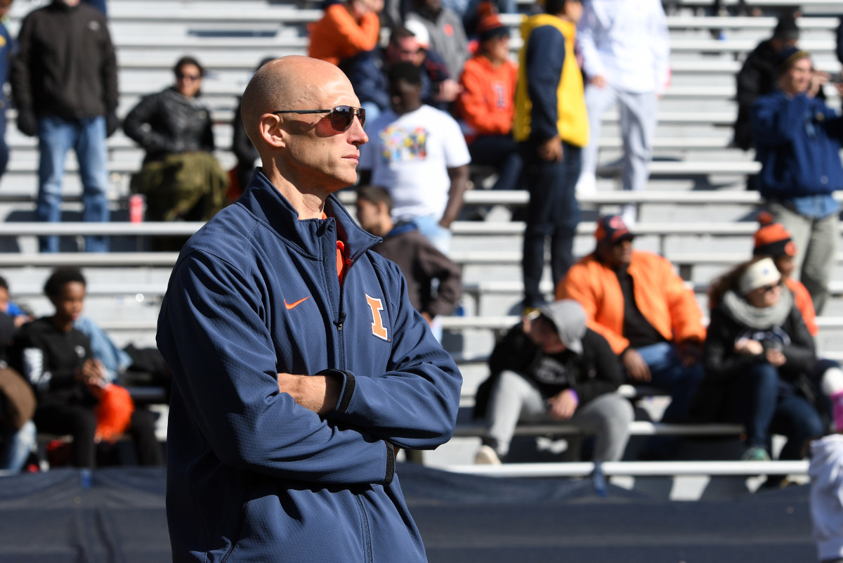 Illinois athletic director Josh Whitman looks on during the fourth quarter of the game against Michigan at Memorial Stadium on Oct. 12, 2019.