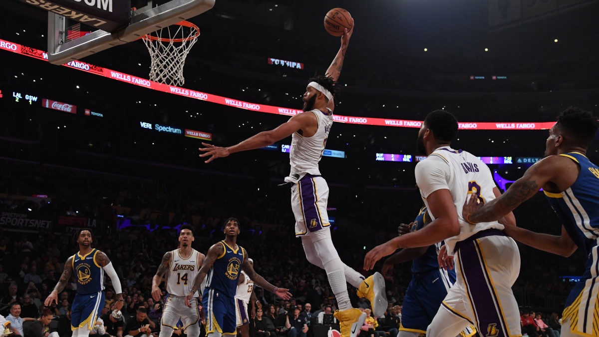 Lakers' JaVale McGee goes up for a dunk vs. Warriors
